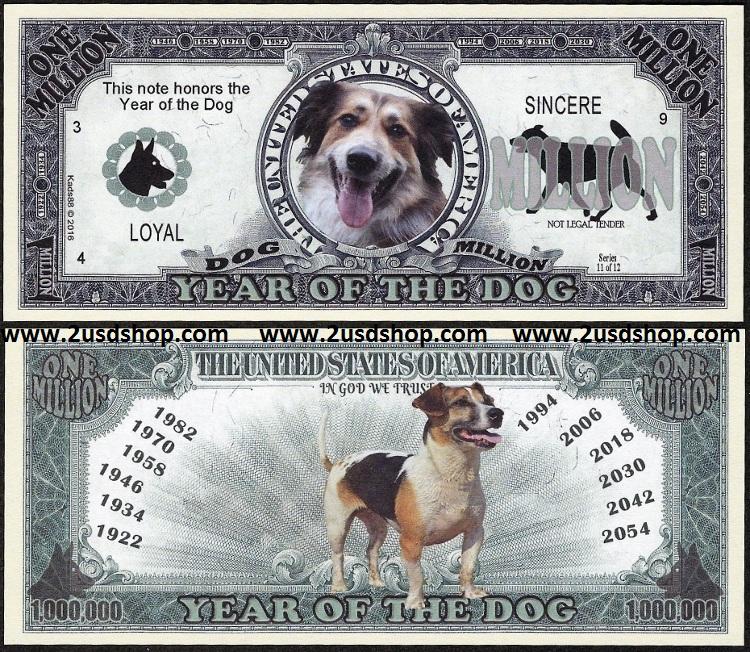 Hình ảnh 2 mặt tờ tiền con chó kỷ niệm 1 triệu đô la